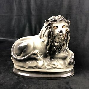 Victorian Staffordshire Recumbent Lion Porcelain Figurine 19th C Grey Scarce