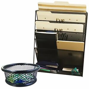 Hanging Mesh Wall Metal File Holder organizer Including Matching Wire Paper