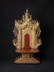 Late 19th Century Antique Wooden Buddha Throne From Burma