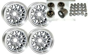 Trans Am 15x8 Snowflake Wheel Kit silver stainless Center Caps New Lug Nuts