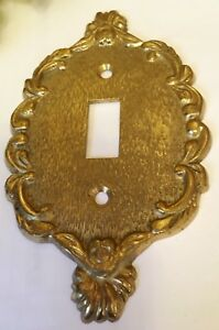 Vintage Architectural Salvage Brass Single Switch Plate Outlet Cover Gorgeous