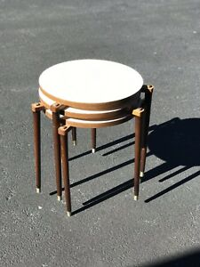 Mcm Stacking Formica Nesting Tables Brass Accents