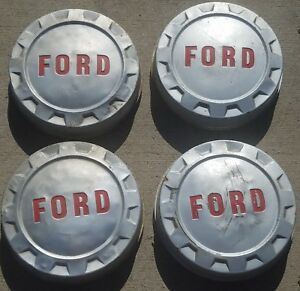 Set Of 4 1961 1966 Ford F250 F350 Dog Dish Bottle Cap Hubcaps Wheel Covers