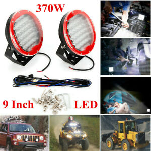 2pcs 9inch 370w Led Round Work Light Spot Flood Driving Headlamp Offroad Suv Atv