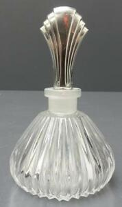 Towle Art Deco Glass Perfume Bottle With Sterling Stopper