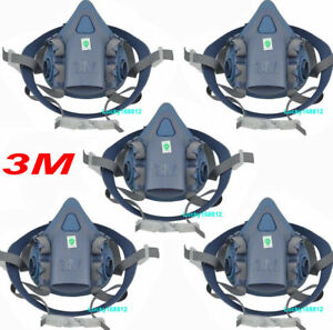 5pack 3m 7502 Silicone Half Face Respirator Painting Spraying Face Gas Mask