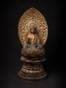17th Century Special Antique Japanese Amida Buddha Statue From Japan
