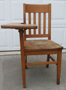 Vintage Oak School Desk Writing Chair Heywood Wakefield Mission Mid Century