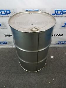 Used 55 Gallon Stainless Steel Barrel Dent On Top Chime Sku X8