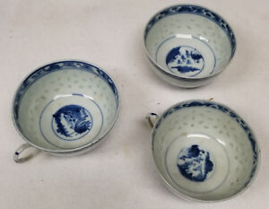 Antique Chinese Underglaze Blue And White Nanking Export Teacups