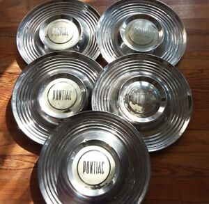 1955 57 Pontiac Rat Rod Hot Rod Chieftain Dog Dish Set Of 5 Hubcaps