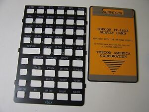 Topcon Fc 48gx Survey Card And Overlay For The Hp 48gx Calculator