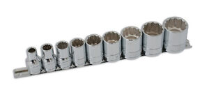 Brand New Socket Set Whitworth Ww 9pce 1 2 Drive On Rail