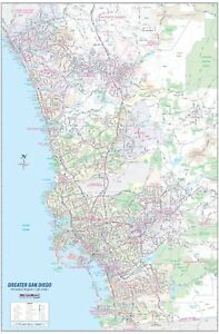 Greater San Diego Ca Detailed Region Wall Map W zip Codes