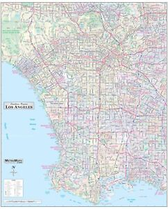 Los Angeles long Beach Detailed Area Wall Map W zip Codes 2 Sizes