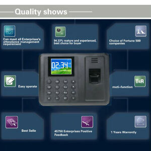 A8 2 8 inch Attendance Machine Recorder Biometric Fingerprint Time Clock Reader