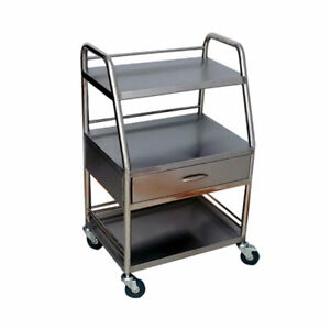 Three Layers Dental Trolley One Drawer Serving Medical Cart Stainless Steel Bsp