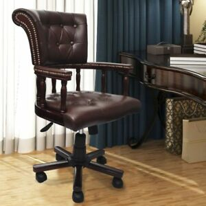 Real Leather Office Chair Accent Ergonomic Computer Chesterfield Seat Desk Brown