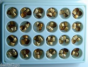 Gold Anodized Temporary Aluminum Molar Crowns kit Of 96 Crowns