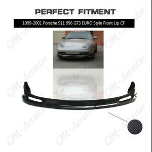 Carbon Euro Style Front Bumper Lip Splitter Kit For 99 01 Porsche 911 996 Gt3