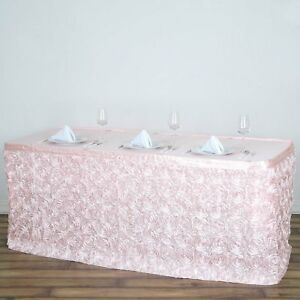 17 Blush Satin Roses Table Skirt Tradeshow Wedding Catering Supplies Dinner