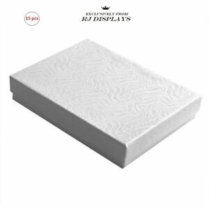 15 Pack Cotton Filled White Color Paper Cardboard Jewelry Gift And Retail Boxes