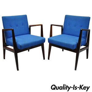 Pair Jens Risom Rosewood Mid Century Modern Blue Fabric Lounge Chair Armchairs