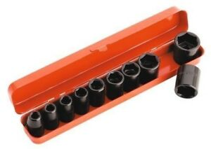 Sealey Tools Air Impact Socket Set 10pce 1 2 Drive Metric 9mm To 27mm In Case