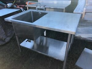 2015 Win holt 4 X 30 Stainless Steel Table Sink Faucet Combo Bottom Shelf Nice