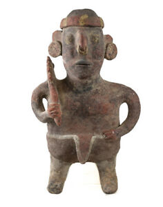 Pre Columbian Nayarit Mexico Pottery Standing Warrior Figure With Staff Or Club