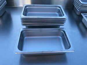 Lot Of 7 Hubert 75079 1 4 Size Steam Stainless Steel Insert Food Kitchen Pans