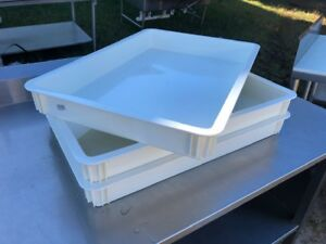 Lot Of 3 Cambro Db18263cw148 White Polycarbonate Pizza Dough Box Stackable White