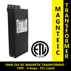 Outdoor Dc 100w 24v Led Driver Power Supply Dimmable Magnetic Transformer Etl