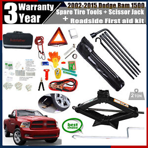 Spare Tire Tool Kit scissor Jack rescue First Aid Emergency For Dodge Ram 1500