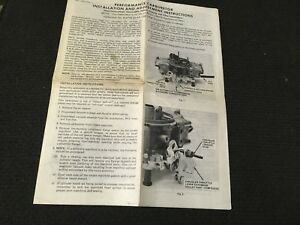Holley R 4778 2aaa 700 Cfm Carb Install Adjustment Instruction Carburetor Manual
