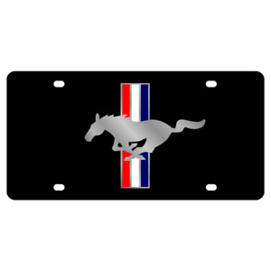 Ford Mustang Tribar Genuine Carbon Stainless Steel 3d Finish Logo License Plate