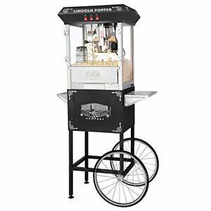6005 Great Northern Black Antique Style Lincoln Popcorn Popper Machine W cart 8
