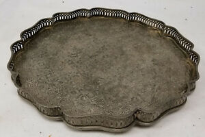 Antique Silverplate Silver Copper Persian Middle Eastern Arabic Tray Plateau