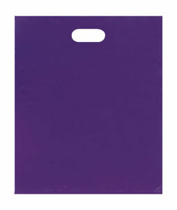 Plastic Bags 500 Purple Shopping Merchandise Die Cut Handles 15 X 18 X 4