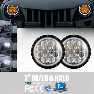 2pcs 7 Inch Amber Spider Drl Halo Led Headlight For 97 18 Jeep Wrangler Tj Jk