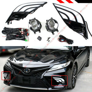 For 18 19 Toyota Camry Se Xse Fog Lamp Light White Amber Led Drl Bezel Cover