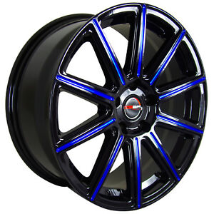 4 Mod 18 Inch Black Blue Mill Rims Fits Toyota Camry V6 2012 2018