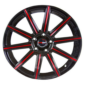 4 Mod 18 Inch Black Red Mill Rims Fits Toyota Camry Le 2002 2011