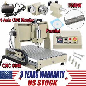 4axis 6040 Cnc Router Kit 1500w 3d Pcb Wood Carving Milling Engraving Machine Us