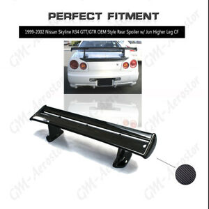 Carbon Oem Style Rear Spoiler W Jun Higher For 99 02 Nissan Skyline R34 Gtt Gtr