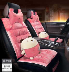 Unverisal Cute Pink Fuzzy Wool Car Seat Covers Front Rear Covers Full Surrounded