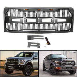 For 2009 2014 Ford F150 Front Mesh Grill Raptor Conversion F r Letter Led Gray