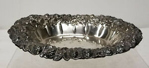 Antique Vintage Webster Silverplate Repousse Floral Bowl Candy Dish