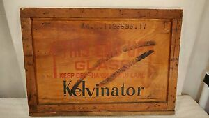 Amazing Vintage Kelvinator Wooden Shipping Crate End Panel 30 X 21 Sweet