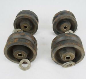 Lot Of 4 Grooved Casters 4 1 2 Bore Vintage Warehouse Wheels